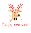 christmas card with funny portrait of a dog vector image vector image