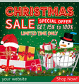 christmas sale banner with gift box and cart vector image vector image