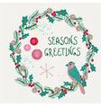 Christmas wreath with bird and decorations vector image