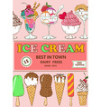 Colorful cartoon ice cream poster design vector image