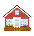 comfortable facade house with garden and wooden vector image vector image