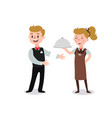 couple waiters wearing uniform holding a vector image vector image