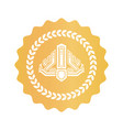 crown inside laurel wreath on golden royal seal vector image