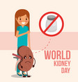 cute girl and sick kidney prohibited salt campaign vector image