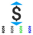 Dollar up down flat icon