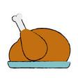 doodle delicious chicken food roast taste vector image vector image