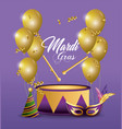 drum and mask with party hat to event vector image vector image