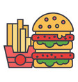 fast food burger and french fries concept line vector image vector image