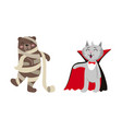 flat cat dracula and mummy bear set vector image