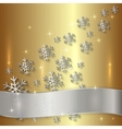 Golden Plate with Snowflakes and White Ribbon vector image vector image