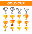 golden trophy cup color icons set vector image