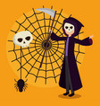 halloween card with death disguise and spider web vector image