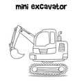 Hand draw of mini excavator vector image vector image