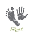 Hand drawn footprint and handprint with lettering vector image vector image