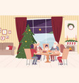 happy family sitting at dining table together vector image vector image