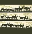 horizontal banners of wild antelope in african vector image vector image