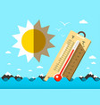 hot summer temperature thermometer in sea waves vector image vector image