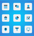 Interface icons colored set with user task