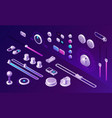 isometric buttons control panel app interface vector image vector image