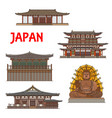 japanese temples shrines pagodas in nara japan vector image vector image