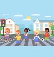 kids walking crosswalk children cross road vector image vector image