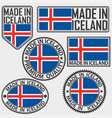 made in iceland label set with flag made in vector image