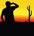man looks in the desert black silhouette vector image vector image