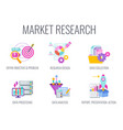 market research icons marketing infographics vector image vector image