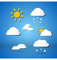 Paper Weather Icons - Clouds Sun Rain on Blue vector image vector image