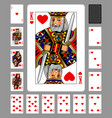 playing cards hearts suit and back on green vector image vector image