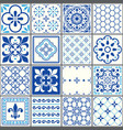 portuguese tiles pattern lisbon seamless navy blu vector image vector image