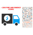 power supply van icon with bonus power set vector image vector image