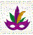 purple carnival mask and colorful feathers vector image vector image