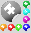 Puzzle piece icon sign Set of eight multi colored vector image