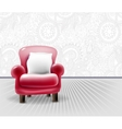 red leather chair with a white pillow in light vector image vector image