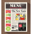 Restaurant Menu Design Template in Newspaper style vector image vector image