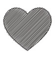 scribbled black heart isolated vector image vector image