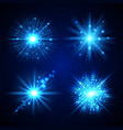 set of blue flash stars vector image vector image
