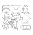set of cyber security symbols vector image vector image