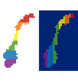 spectrum pixel dotted norway map vector image