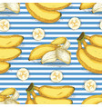 striped seamless pattern with banana vector image