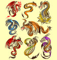 tattoo art design of furious dragon collection vector image vector image