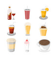 various beverage cafe set vector image