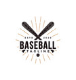 vintage baseball logo with crossed wooden bat vector image vector image