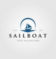 Vintage sailboat logo with sun or moon logo