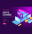 web design page for crypto exchange vector image
