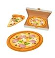 Whole pizza capricciosa in open white box and vector image vector image