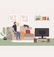 young couple watch tv together happy man and vector image vector image