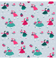 Christmas Background - Girls with presents vector image