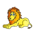 Cartoon yellow lion lies on front paws vector image